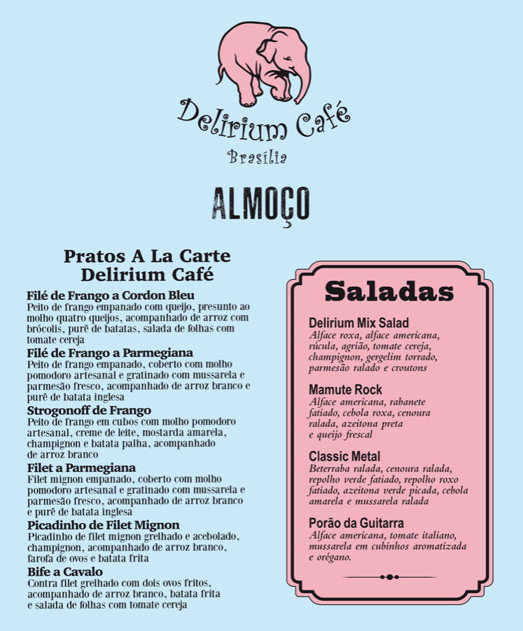 Delirium Café Cardápio Almoco Frente
