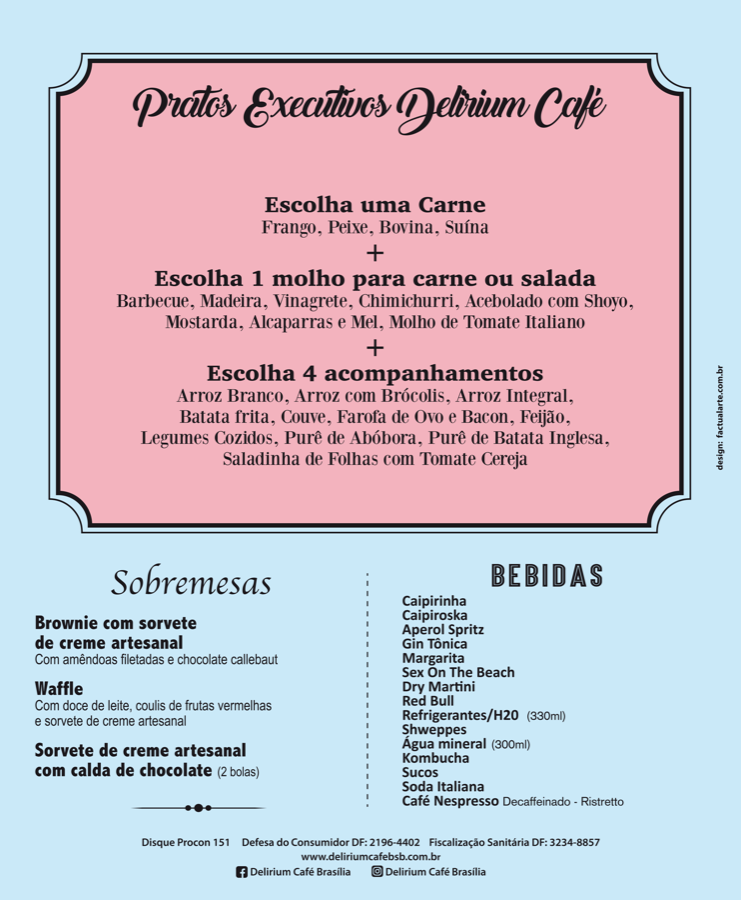 Delirium Café Cardápio Almoco Verso